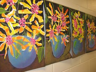 texture.paint.van Gogh warm/cool colors torn flowers/chalk pastel vase/leaves Jamestown Elementary Art Blog: 2nd Grade