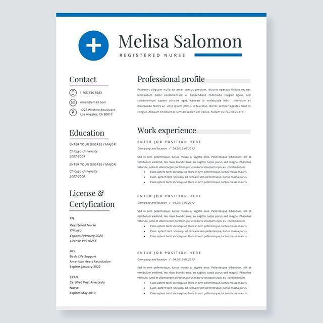 Nurse Resume Template For Word Nursing Resume Medical Etsy Nursing Resume Template Resume Template Resume Template Professional