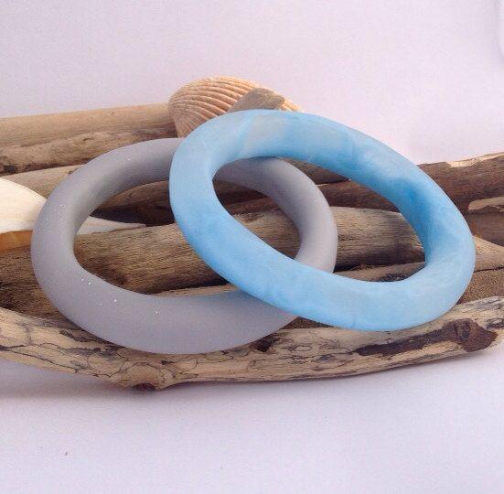 Marble effect handmade eco-resin organically shaped baby blue bangle