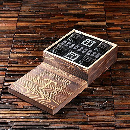 Grand Whisky Personalized Gift set with 4 Whisky Glasses, 4 Slate Coasters and 18 Ice Stones with Engraved Wooden Gift Box - Great Gift for Men, Groomsmen, Father's Day