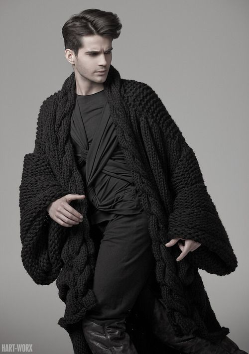 Visions of the Future: Hart-Worx... Black long oversized chunky bell sleeved cardigan