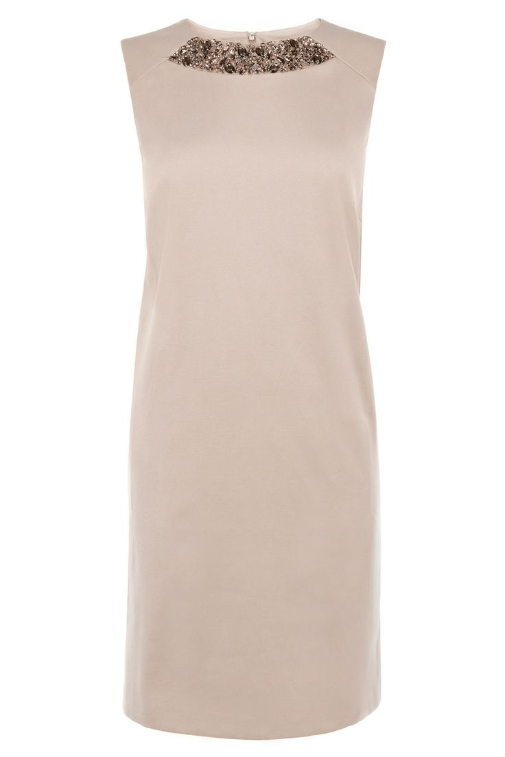 Simply chic this clean lined dress skims and sculpts the body for an effortless look. The Demetra dress is embellished at the neck with faceted stones for a decadent and encrusted look. Closed with an invisible back zip this dress is 71cm/28 inches in length from underarm to hem.