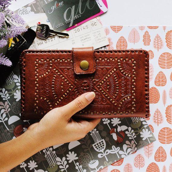 Lyra Dark Brown Woman Vintage Womens Wallet Genuine Leather Wallet Big Wallet  Zipper Coin Phone Cards Mandala Carved Tooled Asian Wallet