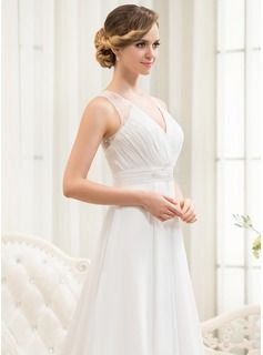A-Line/Princess V-neck Sweep Train Beading Sequins Cascading Ruffles Zipper Up at Side Regular Straps Sleeveless Beach Hall General Plus No Spring Summer Fall Ivory Chiffon Wedding Dress