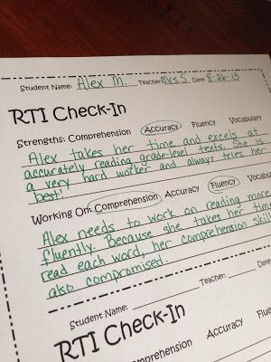 RTI Check-in to keep everyone organized!