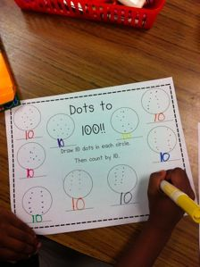 Here's an idea for making ten groups of ten dots for a 100th day activity. Recording sheet included.