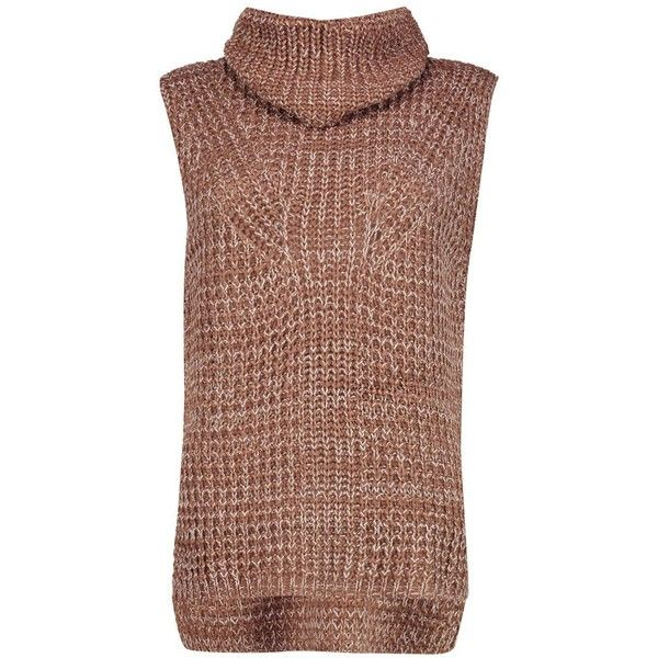 Boohoo Lexi Sleeveless Roll Neck Jumper | Boohoo ($12) ❤ liked on Polyvore featuring tops, sweaters, wrap sweater, party jumpers, turtleneck sweater, brown turtleneck and chunky turtleneck sweater