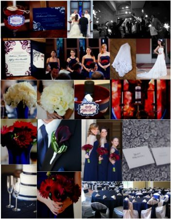 Navy-Cranberry Inspiration Board from an actual wedding - i like the blue with red accents - i just don't want it to get too dark