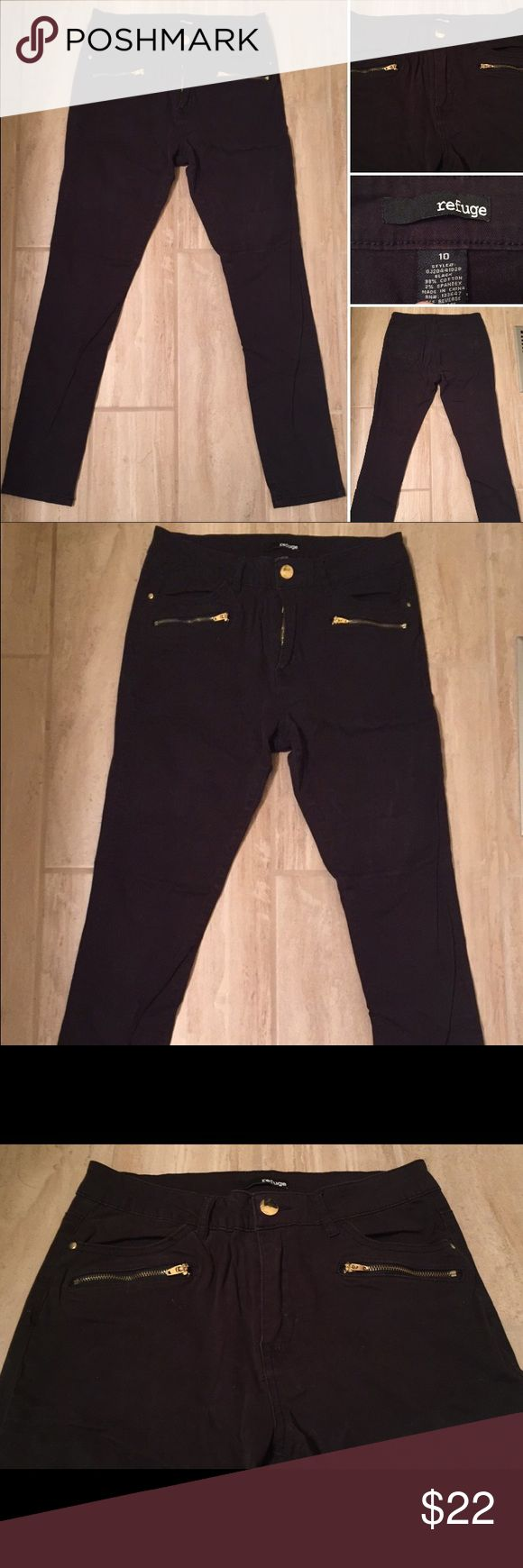 High Waisted Black Jeans High Waisted Black Jeans. Gold zippers and buttons. Could fit a size 8 or 10. Jeans