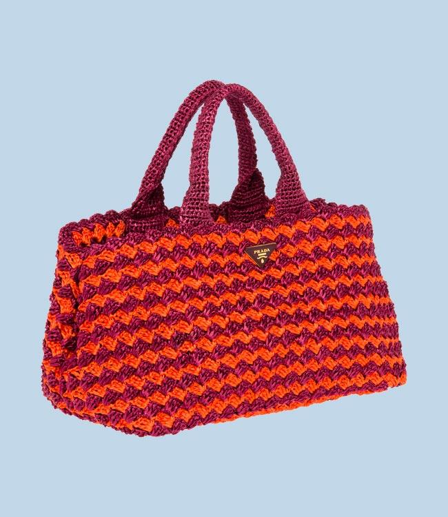 Prada Crocheted Raffia Tote