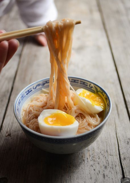 Red Curry noodles + Soft Boiled Eggs