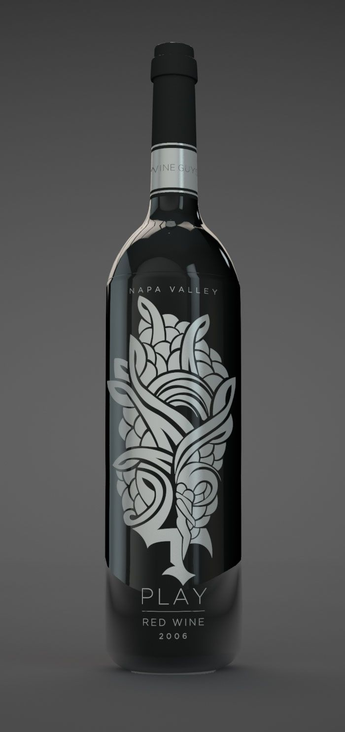 4 Wine Guys. Packaging for 4Play Wine by Ronin Advertising Group. #black_white #illustrated