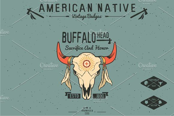 Native American Vintage Badges by inumoccatype on @creativemarket