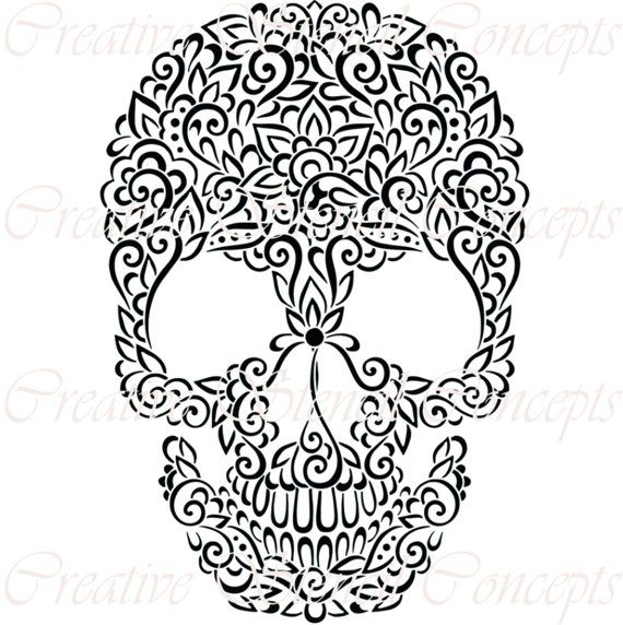Floral Mexican Halloween Sugar Skull Decorative Stencil MULTIPLE SIZES AVAILABLE on Industry Standard 12 Mil Mylar Design 140132122