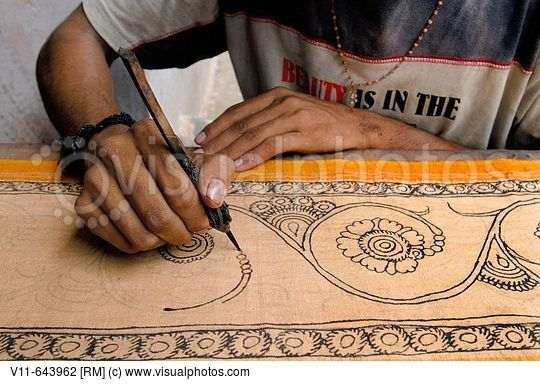 Sri Kalahasti is famous for Kalamkari a method of painting natural dyes on cotton or silk