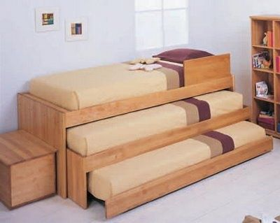 Triple Bunk Bed, Stores Away Neatly.