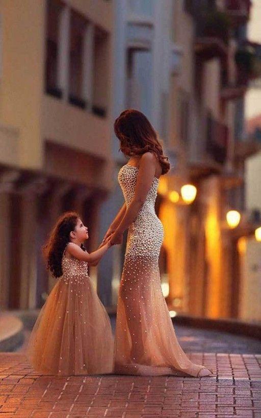 Vianla Beautiful Beadings Sheer Skirt 2016 Prom Dress Sweetheart Sleeveless Mother and Daughter Dress