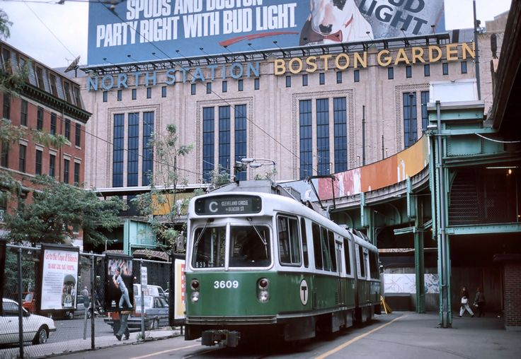 North Station with old Boston Garden in Background 1988  Many great athletes competed here. Bobby Orr of the Bruins and Larry Bird of the Celtics are two fine examples.