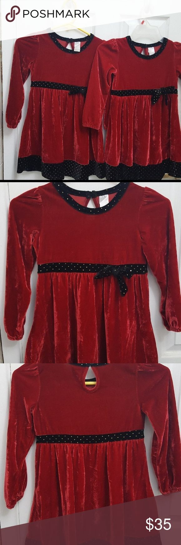 *BUNDLE* velvet Christmas dresses for twins Velvet Christmas Dresses Like brand new Matching from my twins  Wore 2x, 1 for pictures, 1 for family gathering.  Wore approx 1 hour each time.  This posting is for BOTH DRESSES   **sorry no other price reduction unless bundled. ** These were quite expensive dresses Gymboree Dresses Formal