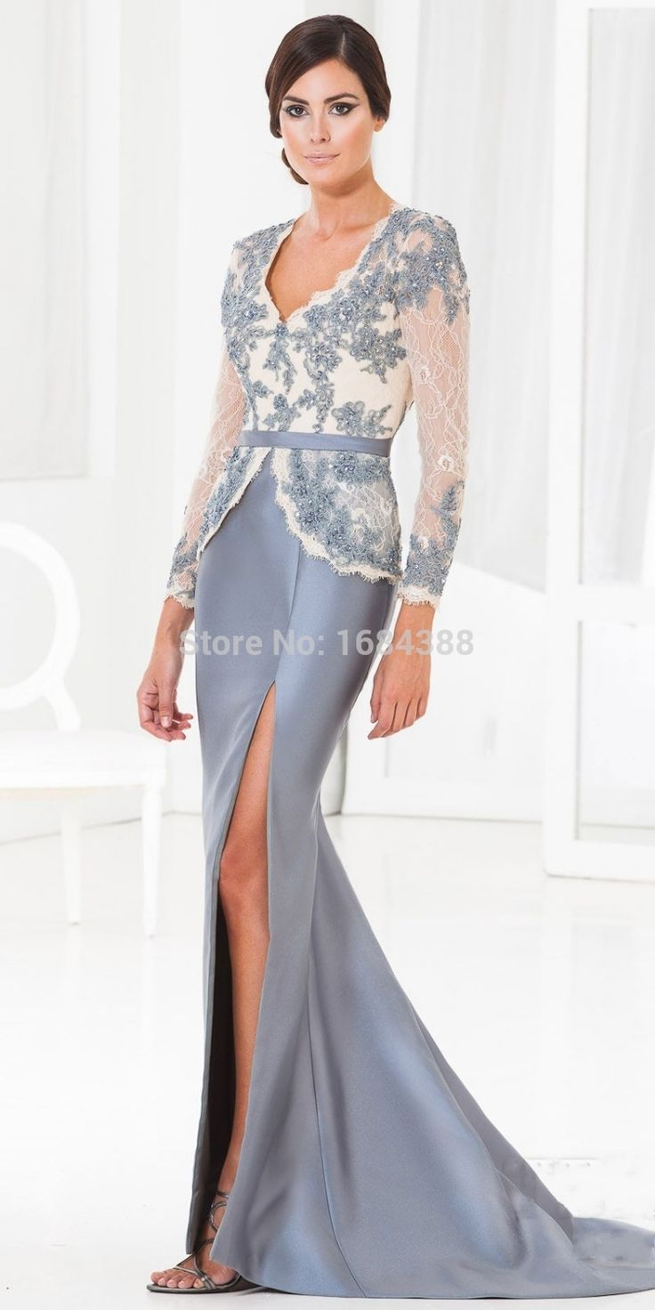 2015 Sexy Black/Gray Appliqued Bodice Full Sleeves Spilt Side Mother of the Bride Dresses Mother Suits