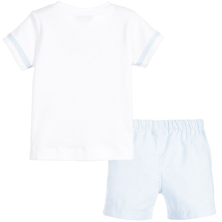 Boys cute two piece shorts set by Aletta. The white cotton jersey top has a striped, pale blue, woven cotton bow and trims. There are decorative buttons down the front and poppers on one shoulder for easy dressing. The matching, woven cotton shorts have a comfortable, elasticated waist.