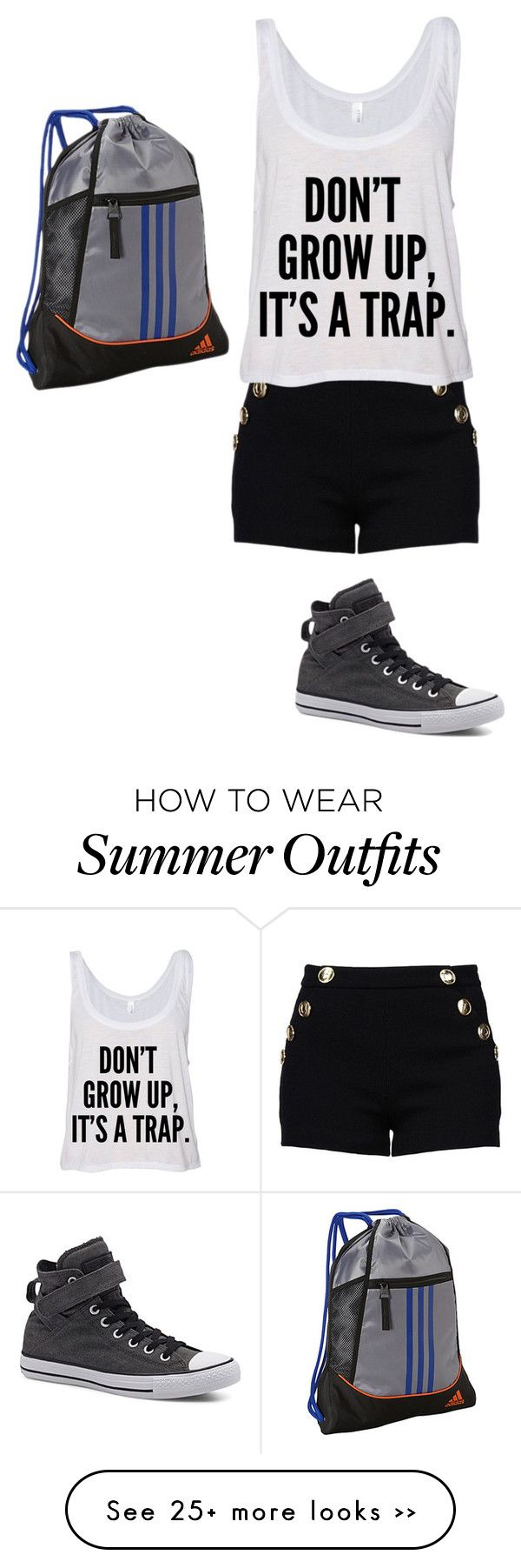 """Untitled #301"" by bvbgirl134 on Polyvore featuring Boutique Moschino, Converse and adidas"