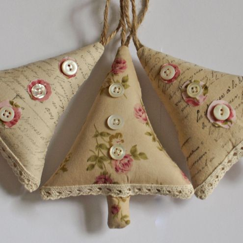 Set of Shabby Chic Christmas Decorations
