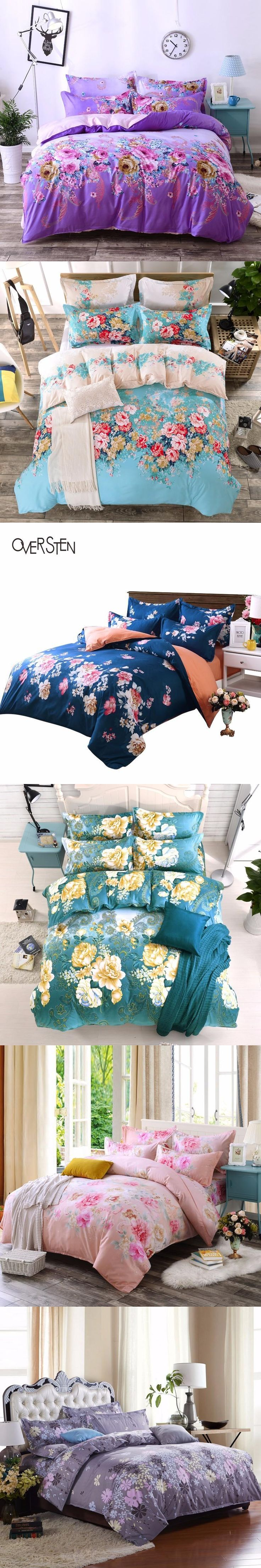 OVERSTEN Palace Style Double Single Bedding Set Twin Queen King Size Duvet Cover Set Floral Pattern Bedding Kit Bed Fabric