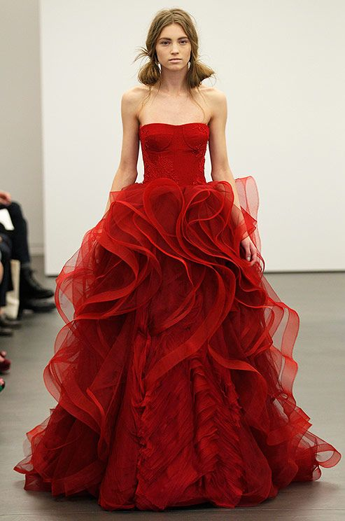 Vera Wang Red Wedding Dress, Spring 2013. I would love to attend a wedding and see the bride walk down the aisle in this beautiful dress! WOW Factor Plus!!!