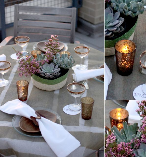 Light votives: Casual Tables Dinners, Casual Alfresco, Alfresco Dinners, Outdoor Tables, Dinners Parties, Great Ideas, Succulents Centerpieces, Dinners Tables Sets, Small Weddings