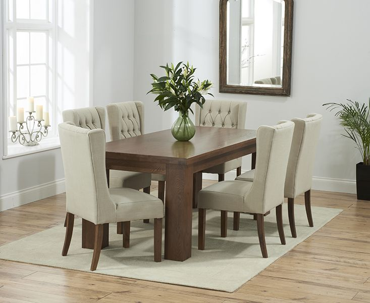 Kentucky 180Cm Dark Solid Oak Dining Table And Safia Fabric Dark Enchanting Oak Dining Room Furniture Design Decoration