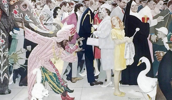 Saturdays People AP 1972 by Norman Rockwell - Colored Collotype
