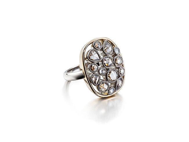 Sormus, ruskeita ja värittömiä ruusuhiontaisia timantteja | Atelier Torbjörn Tillander