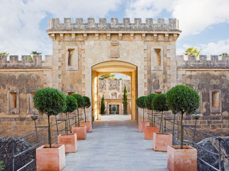 Entrance to Cap Rocat in Llucmajor on Palma de Mallorca, Spain. A former military fortress, now an exclusive hotel