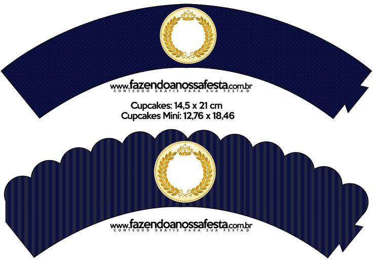 Saias Wrappers para Cupcakes Coroa Príncipe Azul Marinho