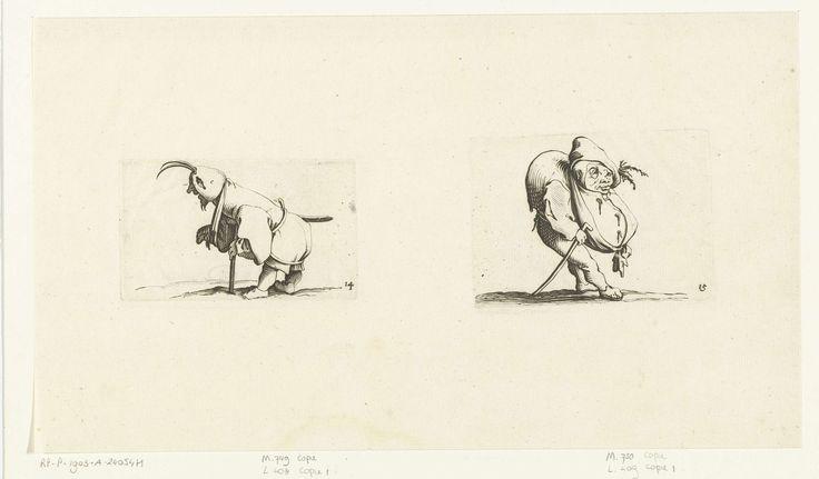 Jacques Callot   Dwerg met mitella, kruk en zwaard; Dwerg met wandelstok, Jacques Callot, Abraham Bosse, 1621 - 1676   Links: dwerg, op de linkerzijde gezien, steunend op een kruk, een capuchon met twee veren op het hoofd, een zwaard onder de riem, de rechterarm in een mitella. Rechts: dwerg, op de rechterzijde gezien, met een gebochelde rug en een dikke buik of grote krop, een muts met takjes op het hoofd, een wandelstok in de rechterhand. Deze beide prenten, naast elkaar op 1 blad gedrukt…