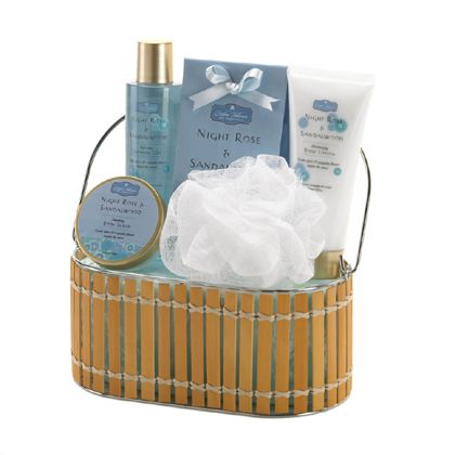 Exotic spices and exquisite floral scent will soothe your senses as you soak your cares away with this luxurious bath set. Enjoy the relaxing bath crystals, shower gel, body scrub, body lotion and invigorating loofah, all set in a beautiful basket.