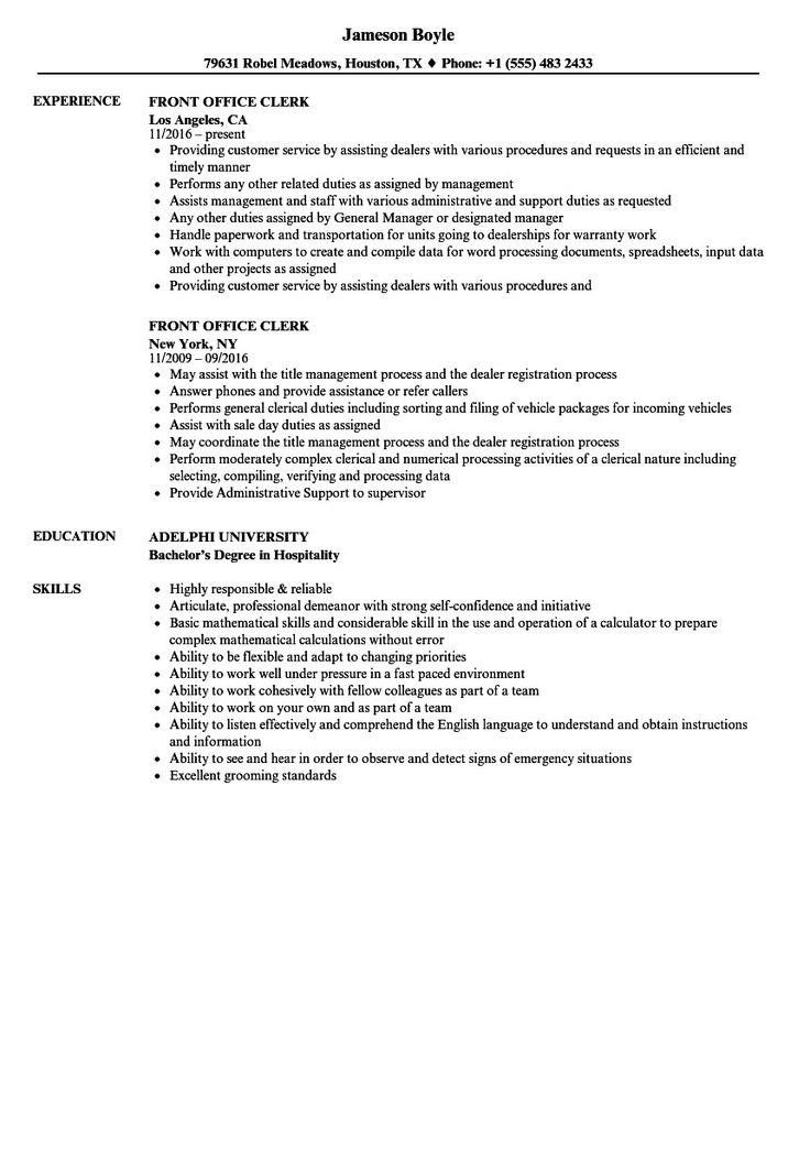 Office Clerk Resume Sample High Class Front Fice Clerk