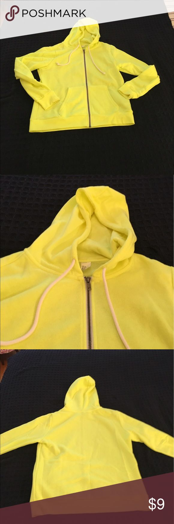 Divided Neon Yellow Zip-up Hoodie Worn once! Divided Neon Yellow zip-up hoodie. Size M. Faint stain on right elbow (see last photo) Divided Tops Sweatshirts & Hoodies