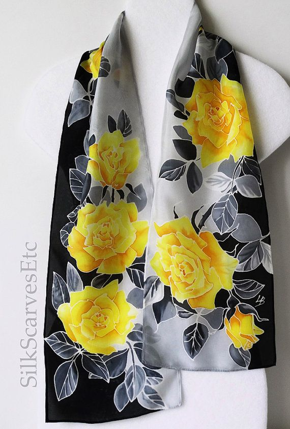 "Yellow gray black silk scarf. Hand painted floral silk scarf with yellow roses on black gray 8""x53"""