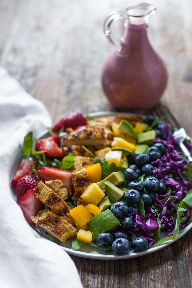 Rainbow Salad with Grilled Chicken and Raspberry Walnut Dressing