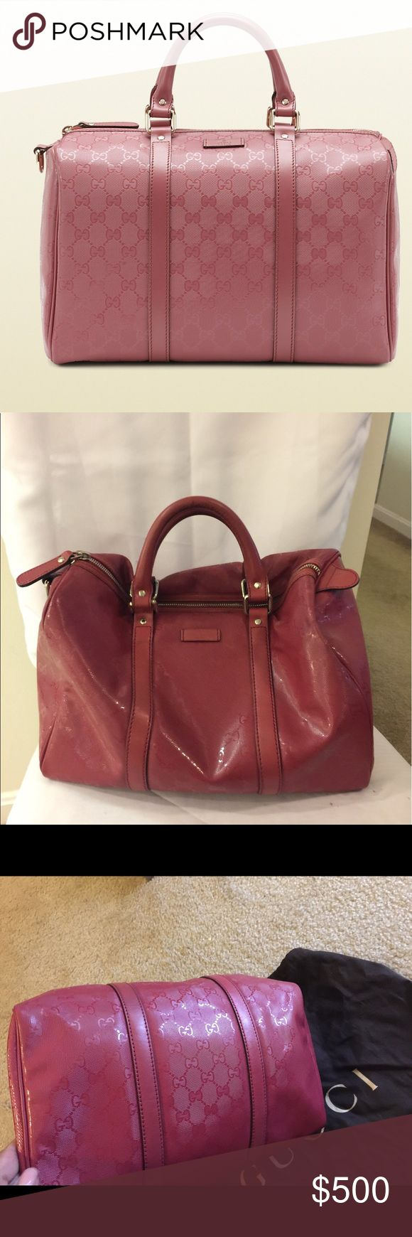 """Authentic Gucci Boston Monogram in """"Dark Rose"""" Good pre-owned condition. Authentic & I encourage you to have it verified through the Posh Concierge😀. Minor marks on the inside (see pics). see pic of bag code. Bag is a dark Rose vinyl material. Silver hardware Gucci monogram GG in rose. Top Handle. Gucci Dust bag included. Sand colored fabric interior. Inside zipper pocket.  ✅L13inch H10inch D7inches Drop 5 inches. NO TRADES. 😘 very unique bag! FINAL PRICE ❤️Also selling a gold one check…"""