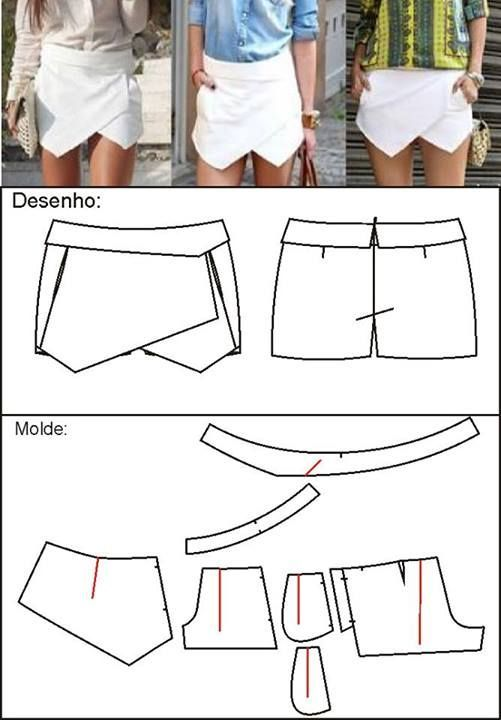 envelope skort pattern - Google Search