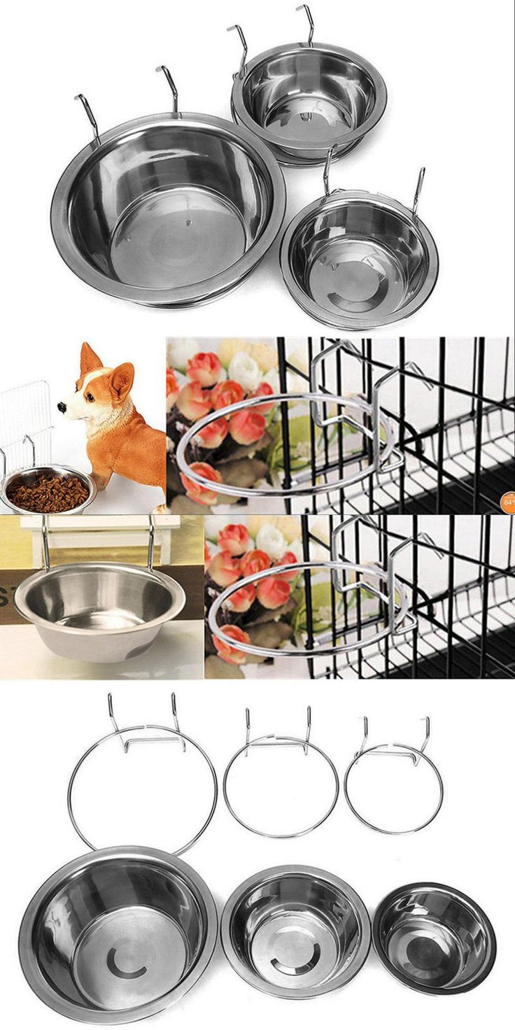 [Visit to Buy] Stainless Steel Pet Dog Bowl Food Water Drinking Cage Cup Hanger Food Water Bowl Travel Bowl For Pet Feeding Tools Hot Sale #Advertisement