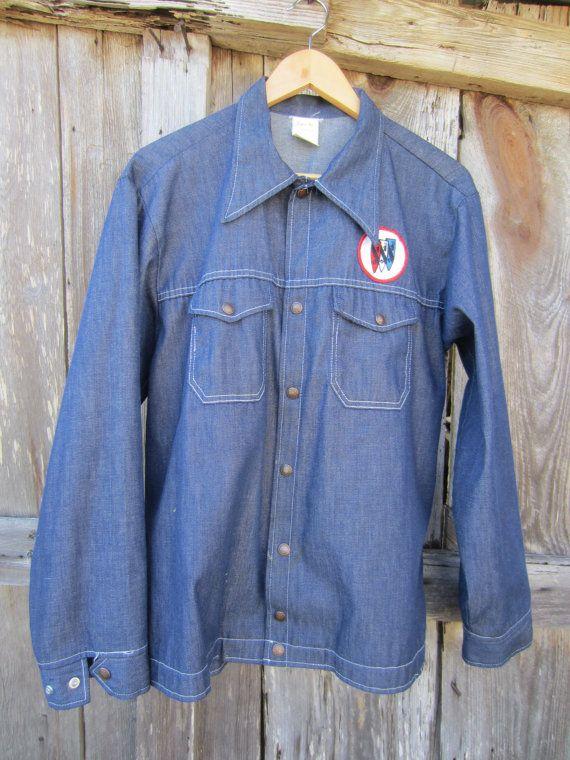 70s Blue Denim Jacket w/ Buick Patch by Cap'n Jac, Men's M-L // Vintage Action Advertising Jacket