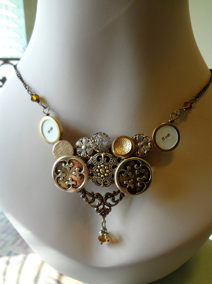 Bella Victorian Style Button Necklace   Vintage Buttons Repurposed Buttons  Button Jewelry. $26.00, via Etsy.