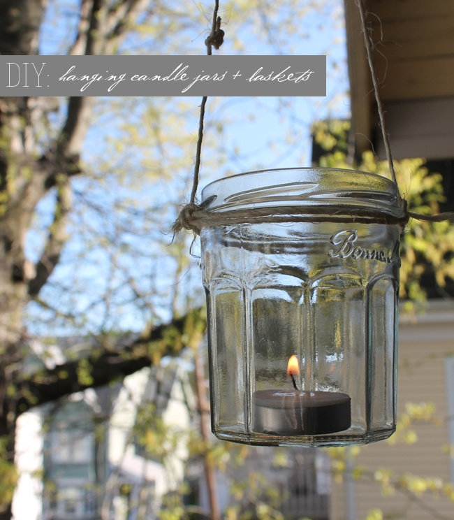 hanging candle jars and baskets  how fun for an outdoor party or indoor if you have rafters