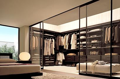 walk-in closet idea. love the modern chic feel of the large glass (more ideas to come!)
