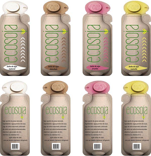 leche de soya ecosoja paper bottle 360 on Behance