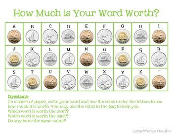 MATH + SPELLING= HOW MUCH IS YOUR WORD WORTH? {CANADIAN COINS} - TeachersPayTeachers.com
